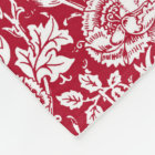Art Nouveau Carnation Damask, Red and White Fleece Blanket