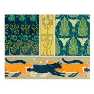 Art Nouveau Cats and Flowers Postcard