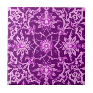 Art Nouveau Chinese Pattern - Amethyst Purple Small Square Tile