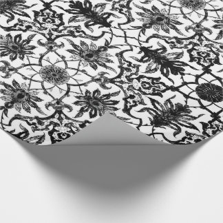 Art Nouveau Chinese Pattern - Black and White Wrapping Paper