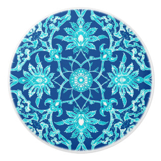 Art Nouveau Chinese Pattern - Turquoise and Blue Ceramic Knob
