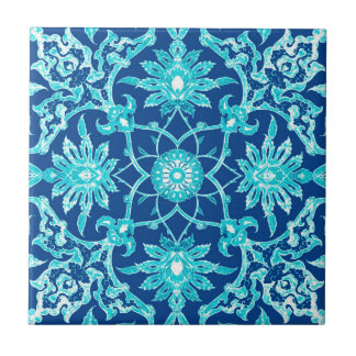 Art Nouveau Chinese Pattern - Turquoise and Blue Small Square Tile