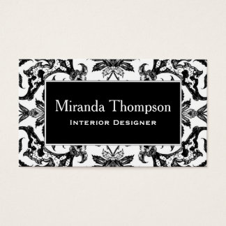 Art Nouveau Chinese Tile - Black and White Business Card