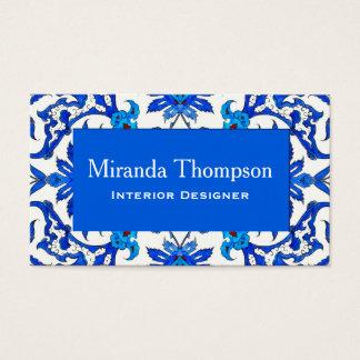 Art Nouveau Chinese Tile - Cobalt Blue & White Business Card