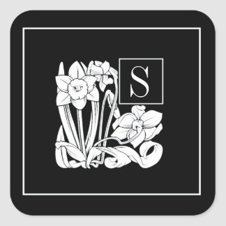 Art Nouveau Daffodil Monogram Sticker