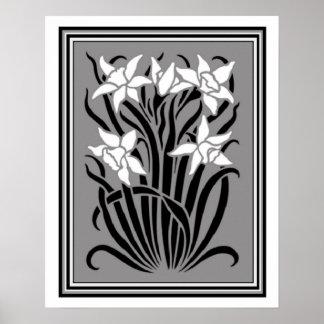 Art Nouveau Daffodil Poster 16 x 20
