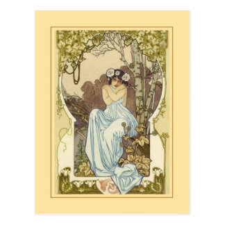 Art nouveau design greeting card. postcard
