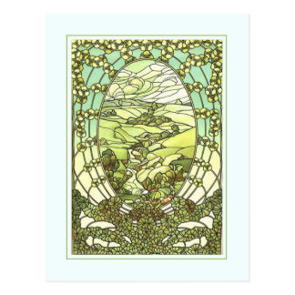 Art nouveau design greeting card. postcard