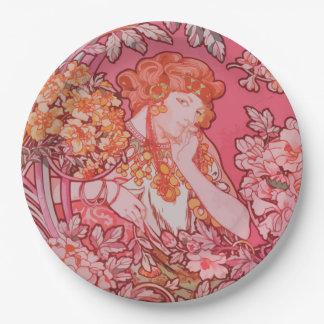 """Art Nouveau design Paper Plates 9"""""""