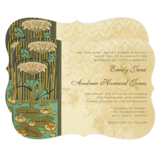 Art Nouveau Dragonfly Lily Pad Wedding Invitation