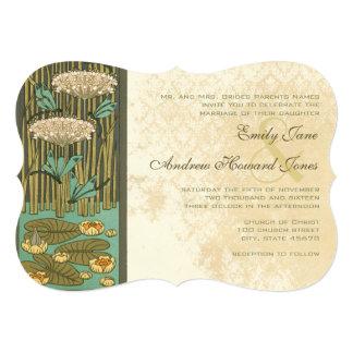 Art Nouveau Dragonfly Lily Pad Wedding Invitation