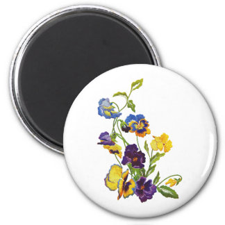Art Nouveau Embroidered Pansies 6 Cm Round Magnet