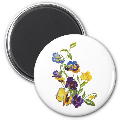 Art Nouveau Embroidered Pansies Magnets