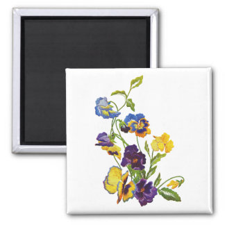 Art Nouveau Embroidered Pansies Square Magnet