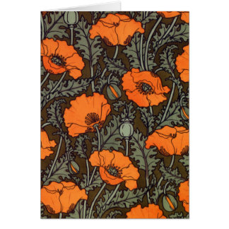 Art Nouveau 'Field Poppies' Greeting Card