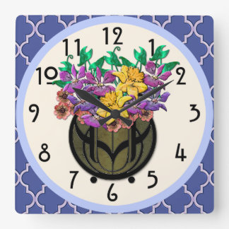 Art Nouveau Floral Bouquet and French Blue Tile Clocks