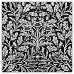 Art Nouveau Floral Damask, Black and White Fabric
