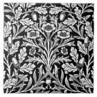 Art Nouveau Floral Damask, Black and White Tile