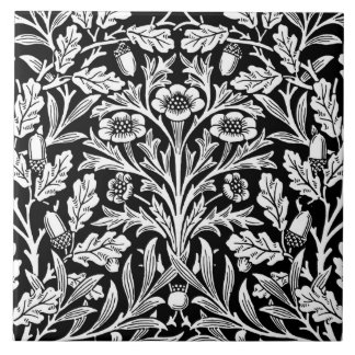 Art Nouveau Floral Damask, Black and White Tile