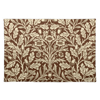 Art Nouveau Floral Damask, Dark Brown and Beige Placemat