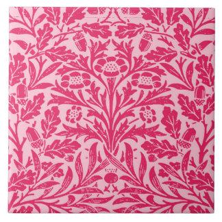 Art Nouveau Floral Damask, Deep Fuchsia Pink Ceramic Tile