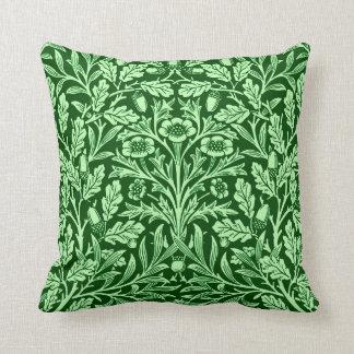 Art Nouveau Floral Damask, Emerald Green Cushion