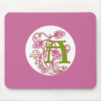 Art Nouveau Floral monogram A Mouse Pad