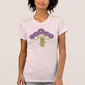 Art Nouveau flower drawing violet T-shirt