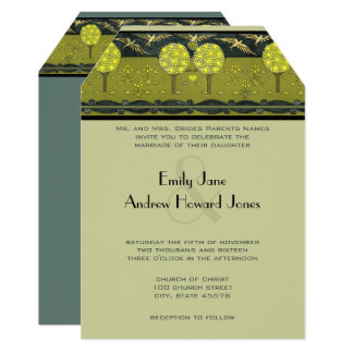 Art Nouveau Forest Vintage Bird Wedding Invites