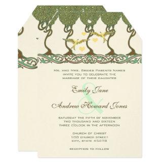 Art Nouveau Forest Vintage Bird Wedding Invites