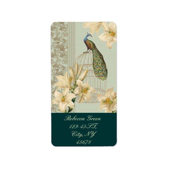 art nouveau  french lily vintage birdcage peacock label