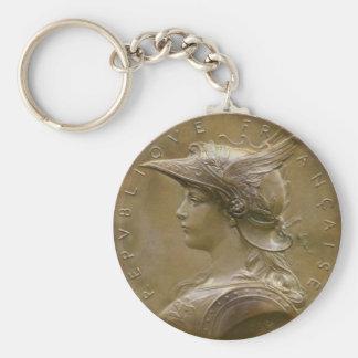 Art Nouveau French Medallion Key Ring