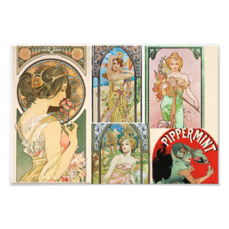 Art Nouveau French Women Art Mosaic Photo Print