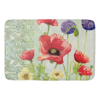 Art Nouveau Geometric Pattern Poppy Flowers Bath Bath Mat