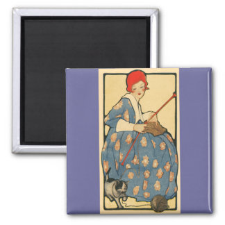 Art Nouveau -Girl knitting with her cat Square Magnet