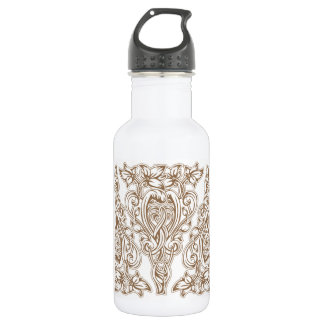 art nouveau, gold,white,vintage,pattern,floral,bel 532 ml water bottle