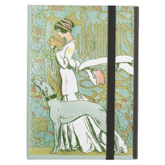 Art Nouveau Greyhound and Lady with Flower iPad Air Cover