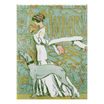 Art Nouveau Greyhound and Lady with Flower Print
