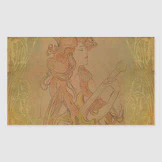 Art Nouveau Guitar Girl Vintage Peach Rectangular Stickers