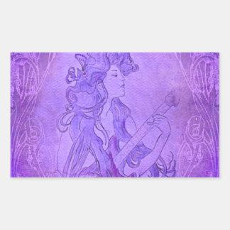 Art Nouveau Guitar Girl Vintage Purple Rectangle Sticker