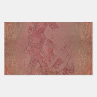 Art Nouveau Guitar Girl Vintage Rose Stickers