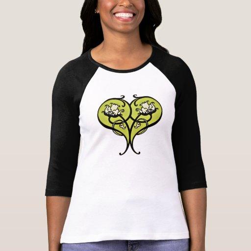 art nouveau heart_green tint tshirt