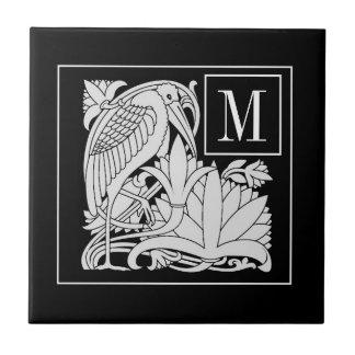 Art Nouveau Heron Monogram Ceramic Tile