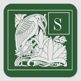 Art Nouveau Heron Monogram  Sticker