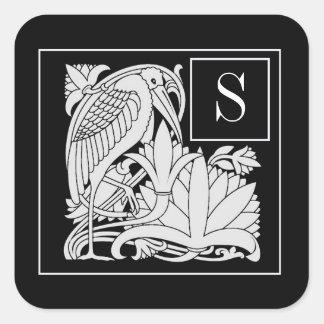 Art Nouveau Heron Monogram Sticker