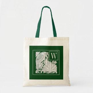 Art Nouveau Heron Monogram Tote Bag
