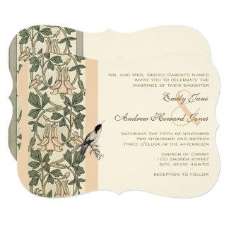 Art Nouveau HoneySuckle Hummingbird Wedding Invite