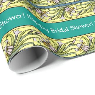 Art Nouveau Iris Floral Flowers Bridal Shower Wrapping Paper