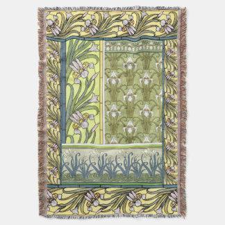 Art Nouveau Iris Flowers Floral Garden Throw