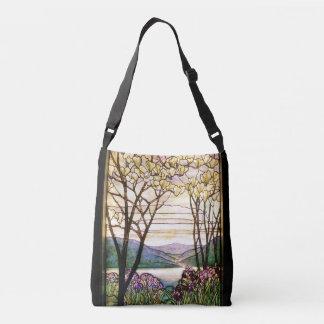 Art Nouveau Iris Flowers Floral Stained Glass Crossbody Bag